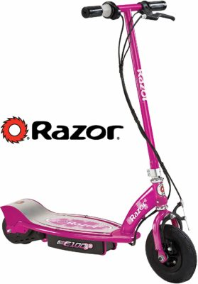 This is an image of a pink electric scooter for kids.