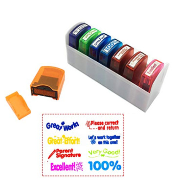 This is an image of a 8 piece colorful stamp set and tray for teachers.
