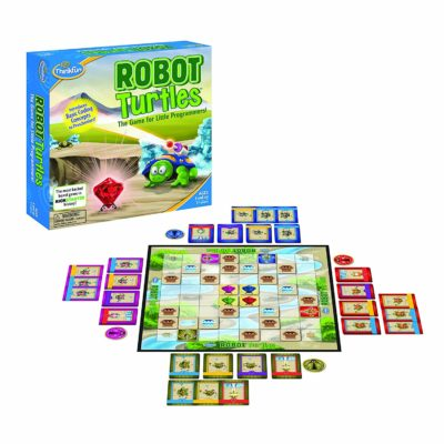 This is an image of a Robot Turtles coding board game for kids.