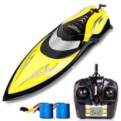 This is an image of a black rc boat wirth remote by Sharkool.