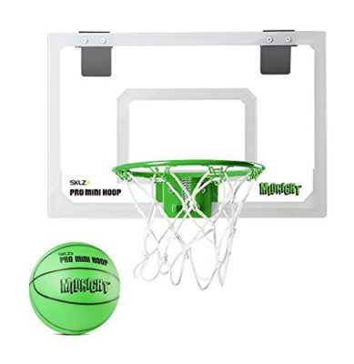 This is an image of a mini green basketball hoop with glow in the darkball.