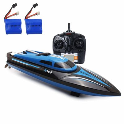 This is an image of a blue electric racing boat with remote control and batteries by SZJJX.