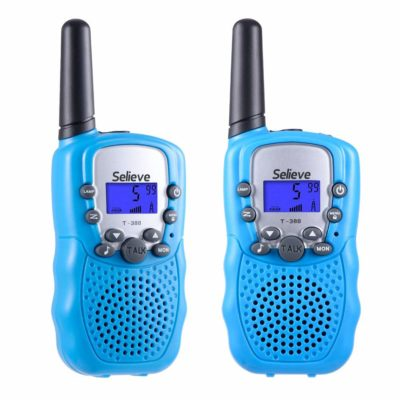 This is an image of a pair of blue walkie talkies for kids.