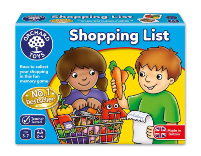 This is an image of a shopping game by Orchard Toys designed for 3 year old kids.