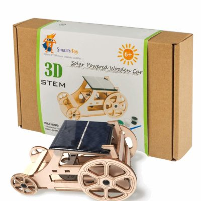 This is an image of a wooden solar car inventor kit for kids.
