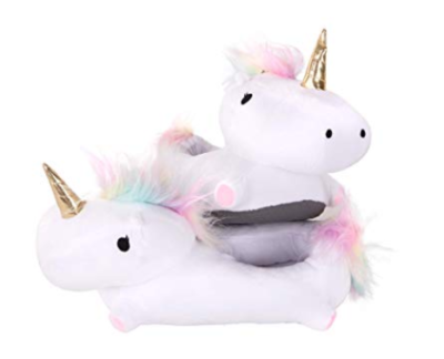 This is an image of a unicorn slippers with light up features.