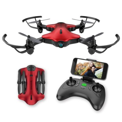 This is an image of a fordable red drone with a real time video feed designed for kids.