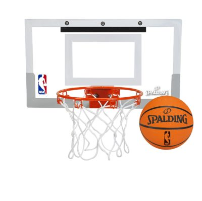 This is an image of an over the door basketball hoop with spalding basketball ball.