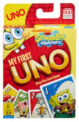 This is an image of an UNO card game in Spongebob Squarepants edition designed for kids.