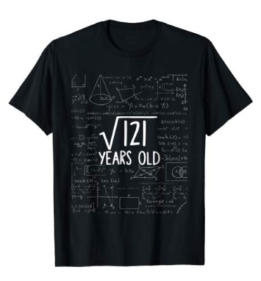 This is an image of a black math t-shirt for 11 year old boys.
