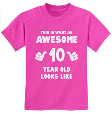 This is an image of a pink t-shirt for 10 year old kids.