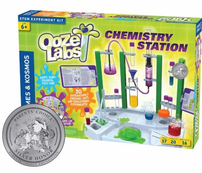 This is an image of a chemistry station experiment set for kids.