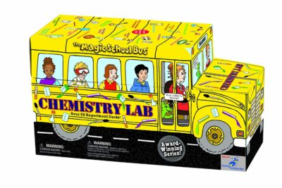 This is an image of a The Magic School Bus chemistry laboratory kit.