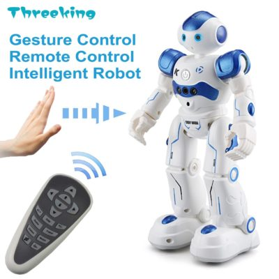 This is an image of a blue gesture and rc robot for kids.