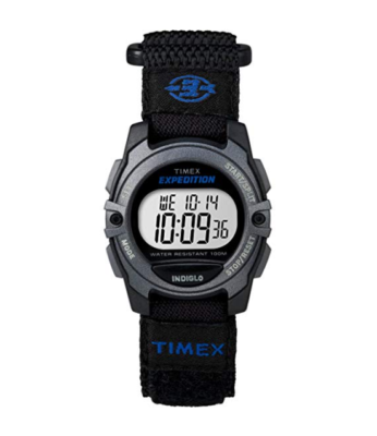 This is an image of a black classic digital watch for kids.