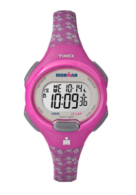 This is an image of a pink floral Timex watch.