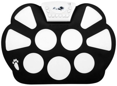 This is an image of a black and white electronic drum pad set for kids.