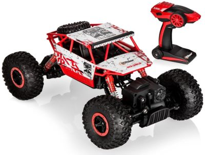 This is an image of a red rc monster truck.