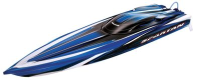 This is an image of a blue race boat by Traxxas.