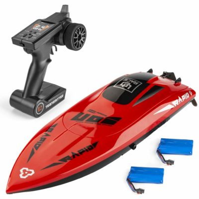 This is an image of a red rc boat by UD.