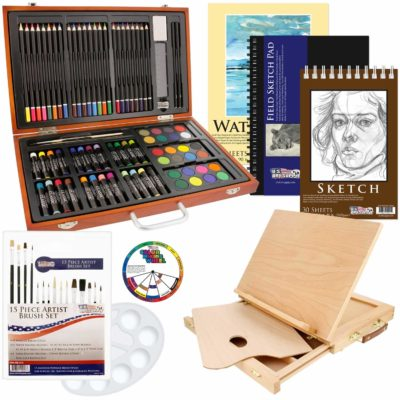 This is an image of a 82 piece deluxe art set for kids.