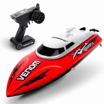 This is an image of a fast red rc boat by USA Toyz.