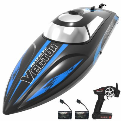 This is an image of a black rc boat with batteries by VOLANTEXRC.