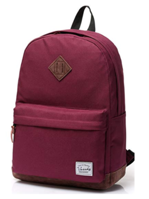This is an image of a burgundy school backpack.