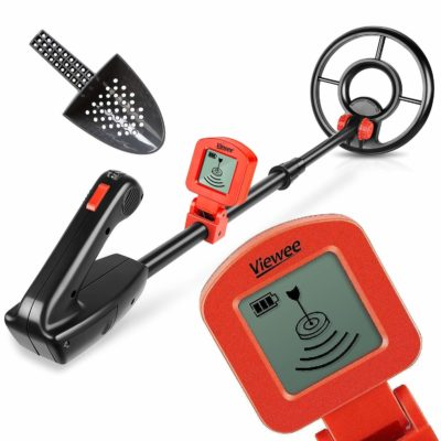 This is an image of a red metal detector set for kids.