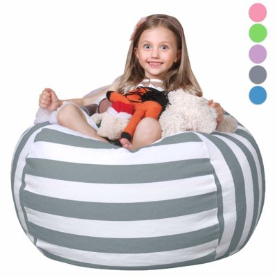 This is an image of a 38 inch large gray storage bean bag.
