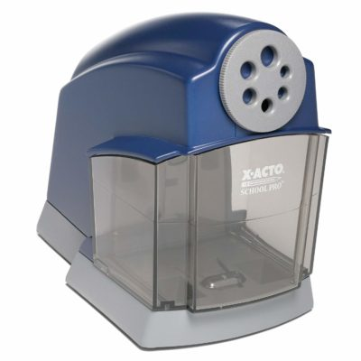 This is an image of a heavy duty blue electric pencil sharpener.