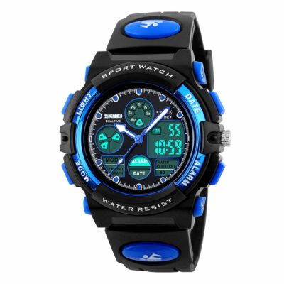 This is an image of a blue analog digital sports watch.