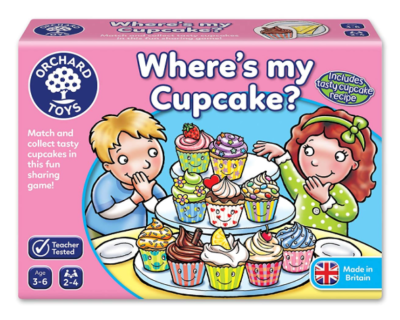 This is an image of a Where's My Cupcake game by Orchards Toys designed for kids.