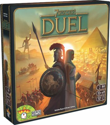 This is an image of a board game for 2 called 7 Wonders Duel edition.