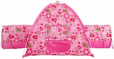 This is an image of a pink floral playhouse with 2 tunnels by Alvantor.