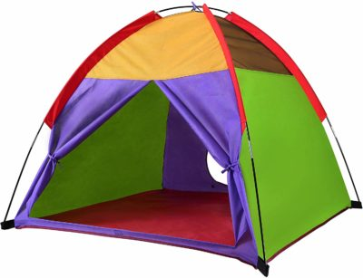 This is an image of a rainbow colored play tent for kids by Alvantor.
