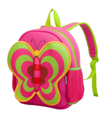 This is an image of a pink butterfly backpack for kids.