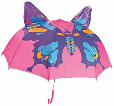 This is an image of a pink umbrella with butterfly print by Babalu.