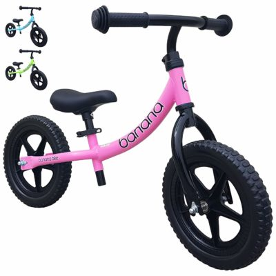 This is an image of a blue, green and pink balance bikes by Banana Bike.