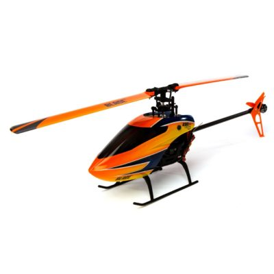This is an image of an orange rc helicopter by Blade.