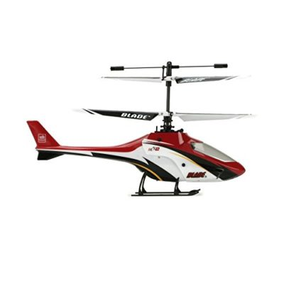 This is an image of a red E-flite rc helicopter by Blade.