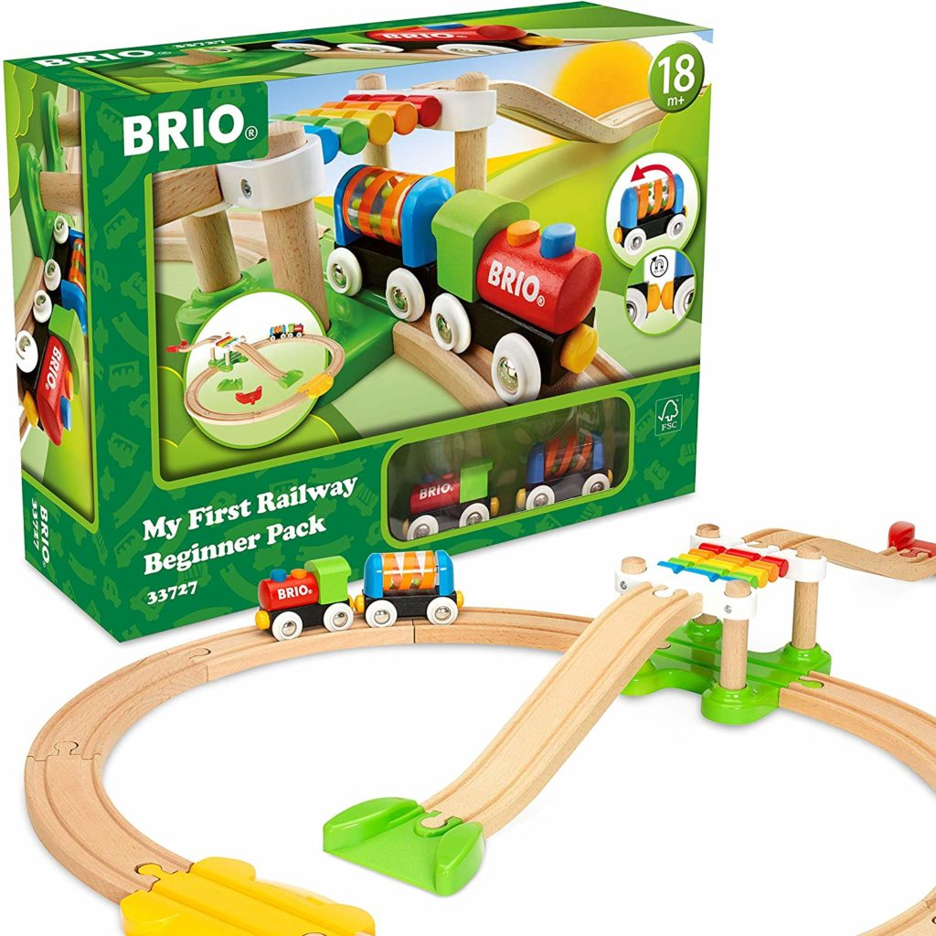 This is an image of a railway train set by Brio.