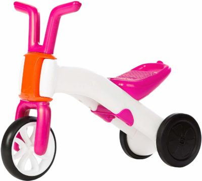 This is an image of a pink Bunzi balance bike and tricycle by Chillafish.
