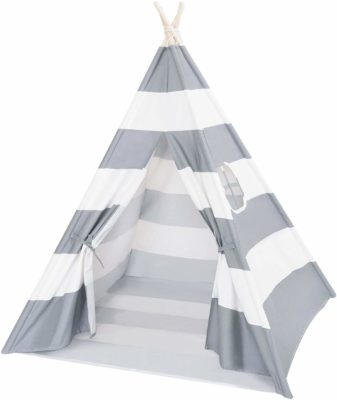 This is an image of a grey striped teepee kid's play tent by Click image to open expanded view DalosDream.