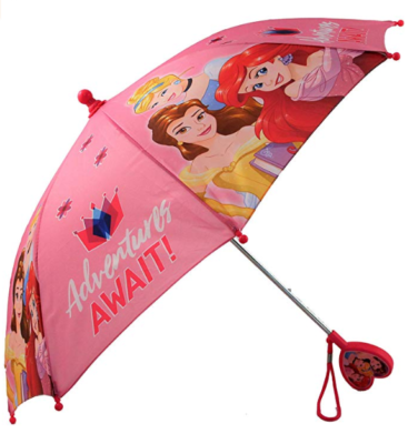 This is an image of a pink kid\s umbrella with Disney Princess characters.