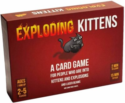 This is an image of an exploding kittens strategy game for teens.