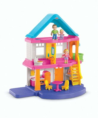This is an image of a 3 storey dollhouse playset by Fisher Price.