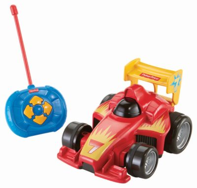 This is an image of an easy to use RC car for toddlers by Fisher Price.