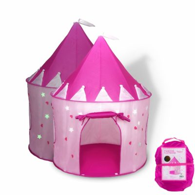 This is an image of a pink castle play tent by FoxPrint.