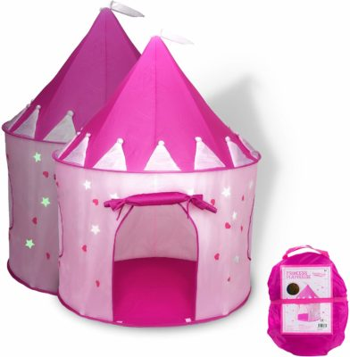 This is an image of a pink castle play tent for kids by FoxPrint.